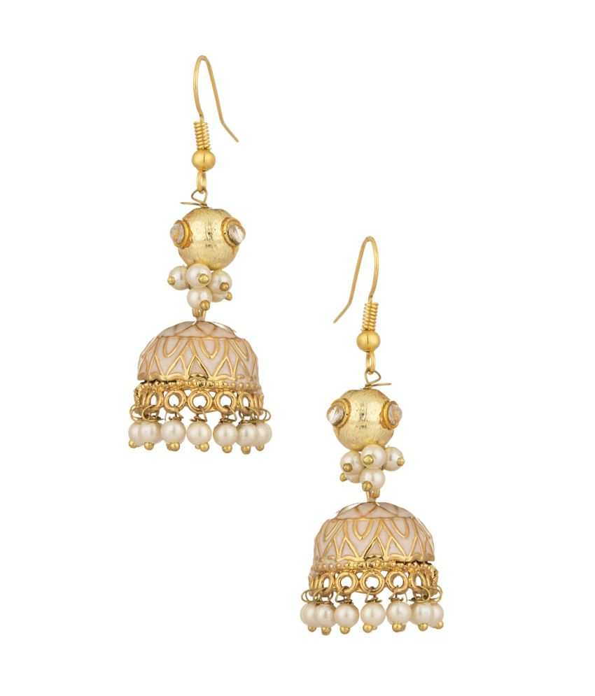 Voylla Gold Plated Pair Of Jhumki Earrings Studded With Cz, Pearls And Enamel Work