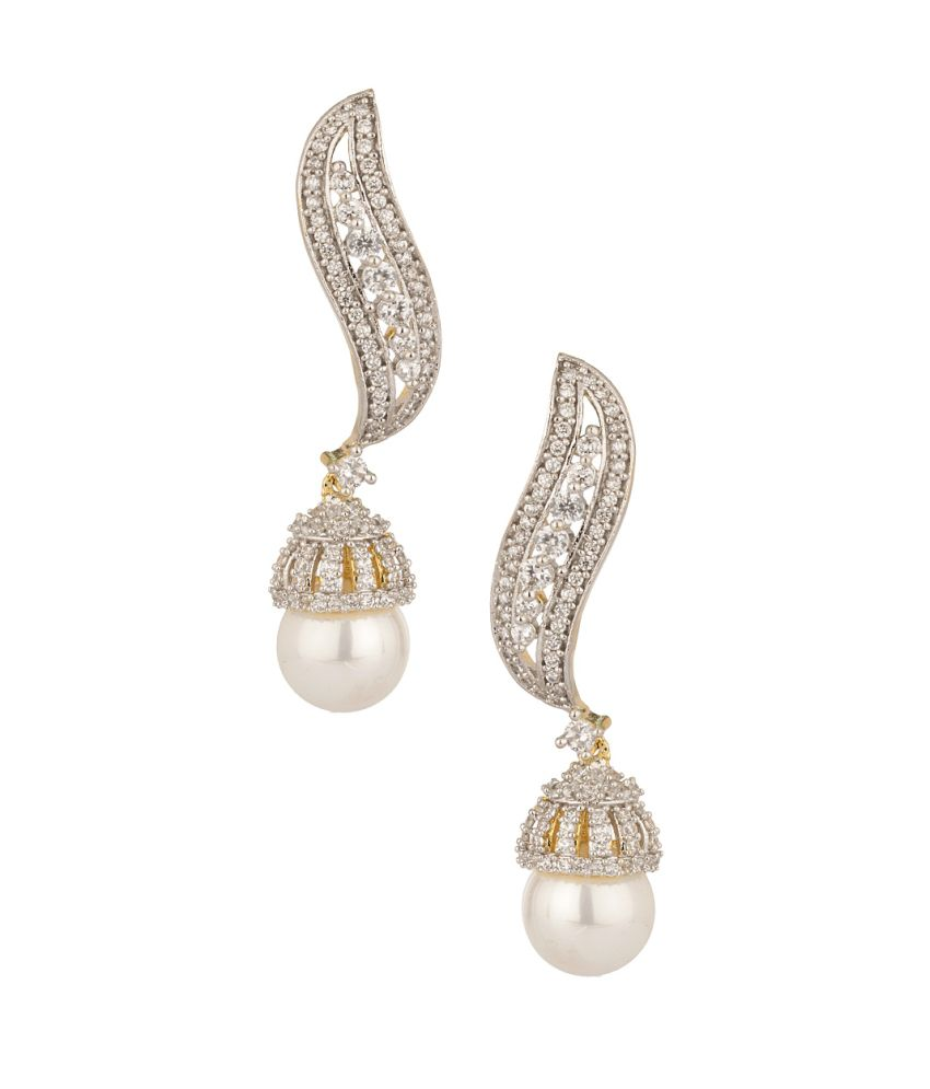 Voylla Gold Plated Traditional Dangles With Cz And Pearl Drop