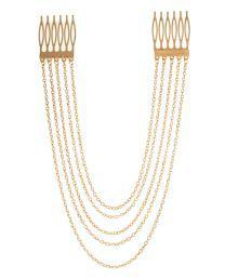 Crunchy Fashion Golden Multi Chain Comb Hair Pins
