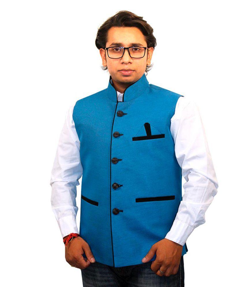 Discownt Designer Blue & Black Nehru Jacket - Buy Discownt Designer ...