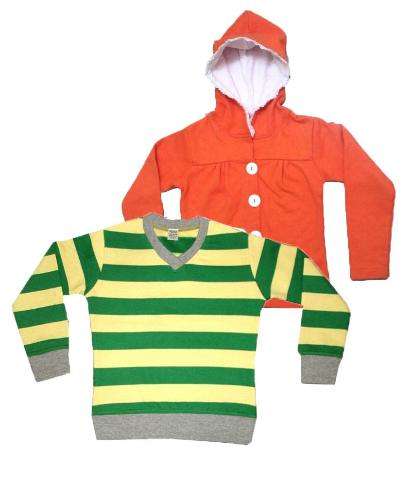 Goodway Green & Orange Color Pack of 2 Pull over & Hooded Sweatshirt For Kids