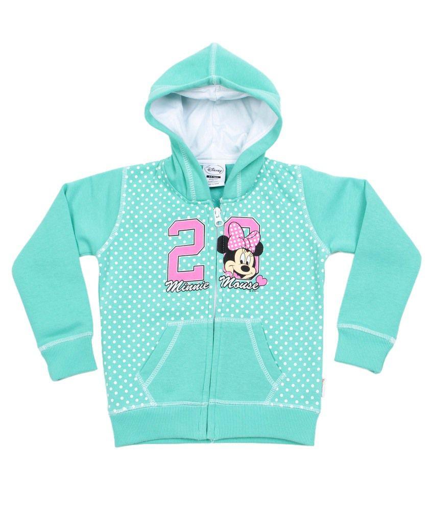 Disney MICKEY AND FRIENDS Full Sleeves Green Printed Hooded Sweatshirt For Kids