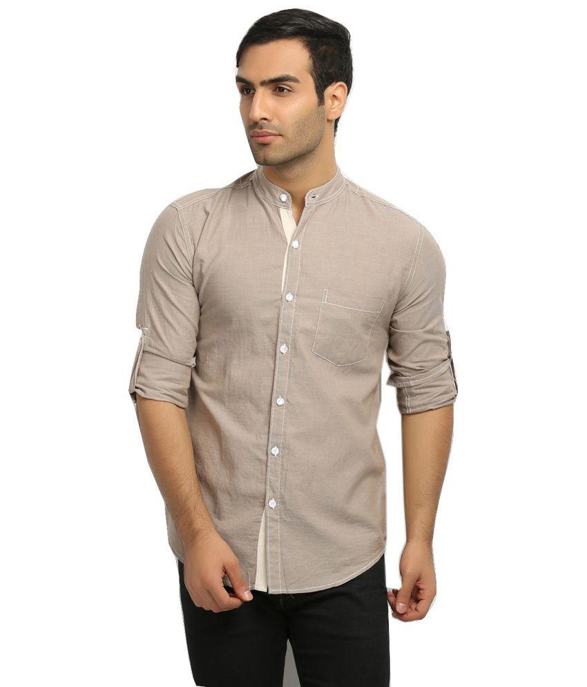 Nick & Jess Mens Light Brown Oxford Mandarin Collared Shirt - Buy ...