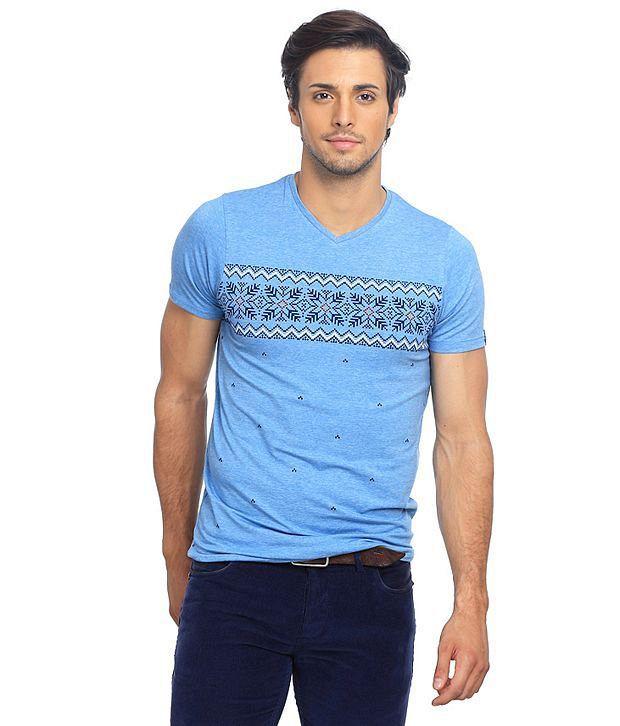 Basics Blue Cotton Blend  T-Shirt