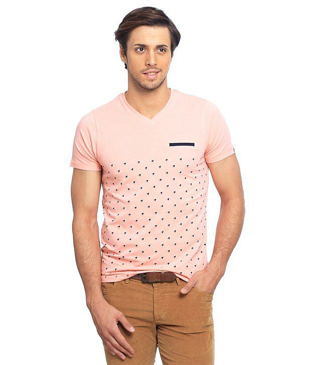 Basics Pink Cotton Blend  T-Shirt