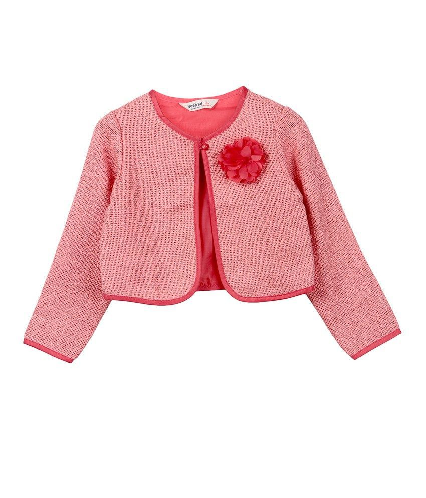 Beebay Girls Hopsack Flower Short Jacket