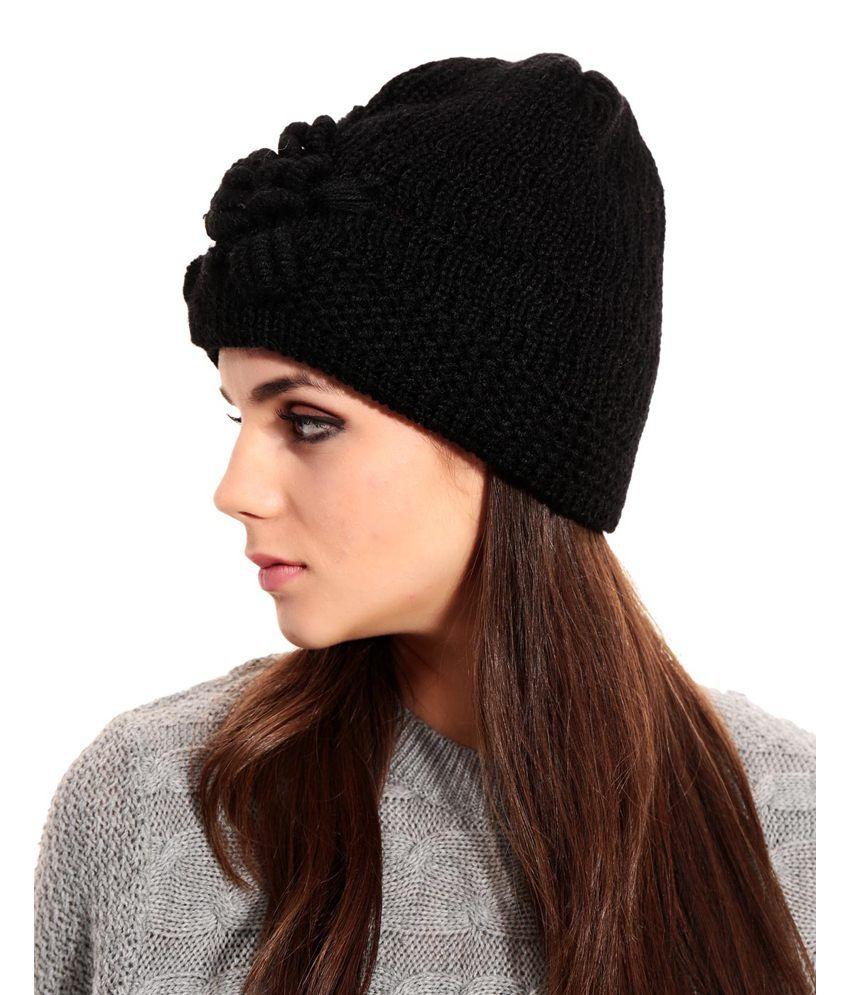 Tab91 Black Woollen Winter Single Casual Skull Cap  Buy Online at ... 748bb4a9757