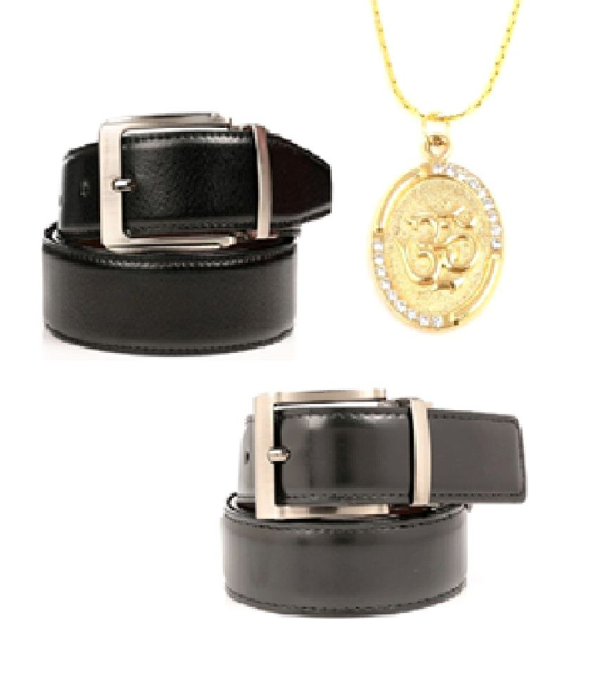 Combo Of 2 Reversible Belts with A Gold Plated Om Pendant With Chain By Createawitty Inc