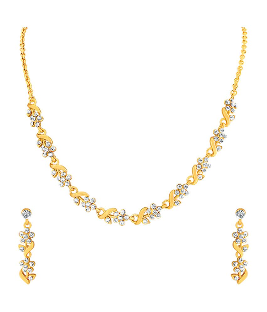 Mahi Gold Plated And Leafy Crystal Necklace Set
