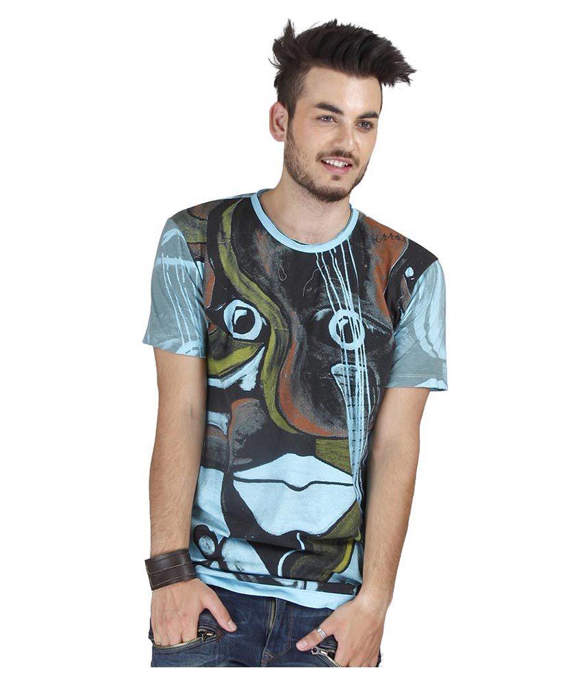 Mirror Tees Mulitcolour Abstract Animal Printed Cotton T-shirt