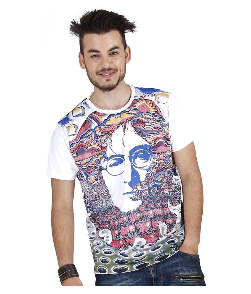Mirror Tees Mulitcolour John Lennon Printed Cotton T-shirt