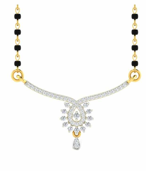 Sparkles Adorning Diamond Mangalsutra With Gold Chain And Black Beads