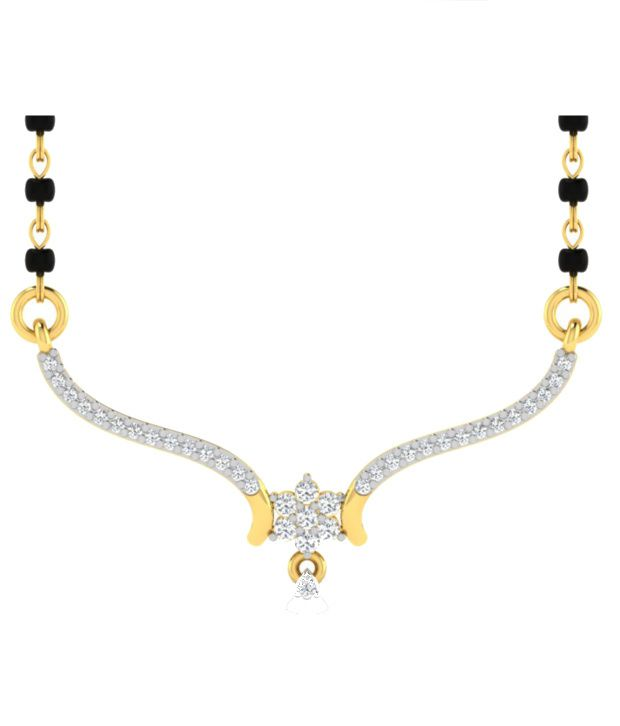 Sparkles Garishing Diamond Mangalsutra With Gold Chain And Black Beads