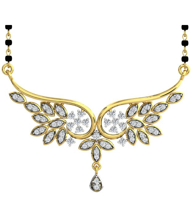 Sparkles Royal Diamond Mangalsutra With Gold Chain And Black Beads