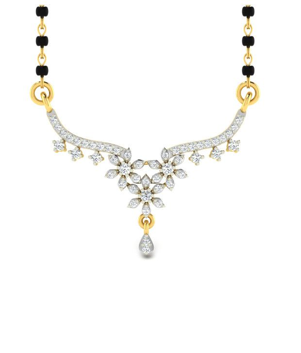 Sparkles Wonderful Diamond Mangalsutra With Gold Chain And Black Beads