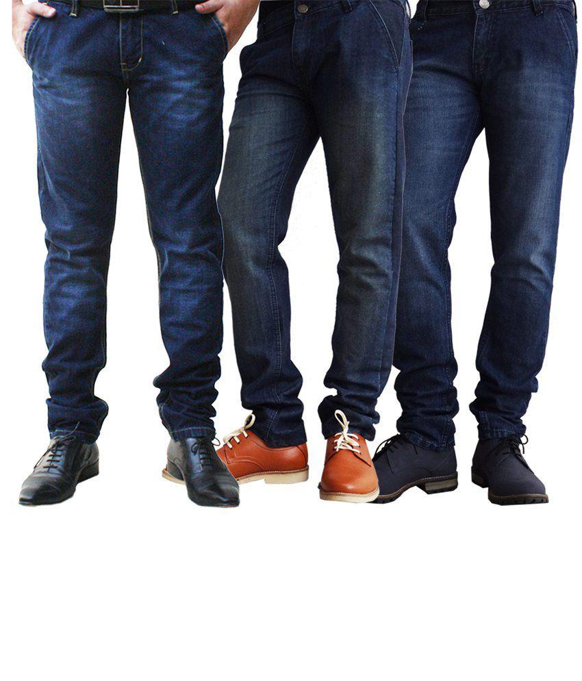 Ben Carter Men's Faded Denim Jeans - Combo Of 3