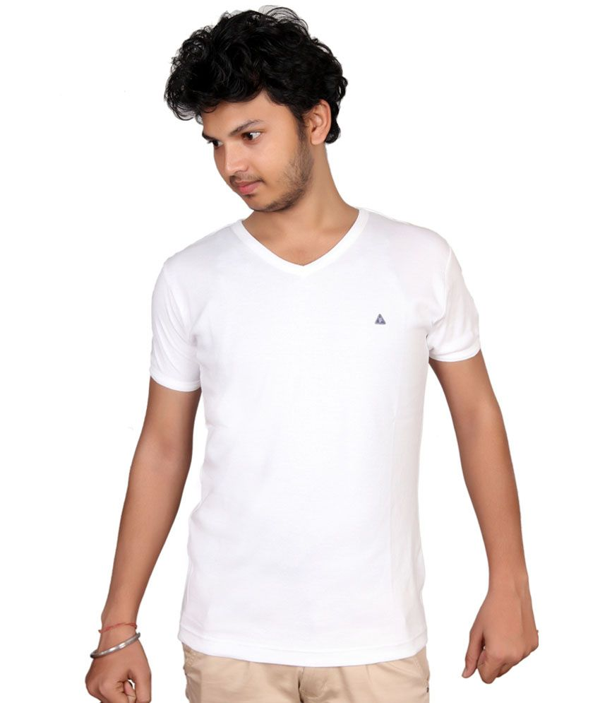 Fulon White Cotton V-neck Half Sleeve T Shirt