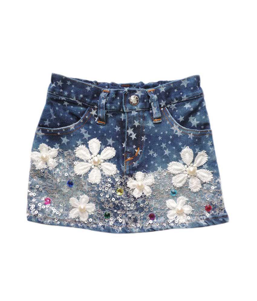 ole baby blue denim skirt pearl flower design buy ole