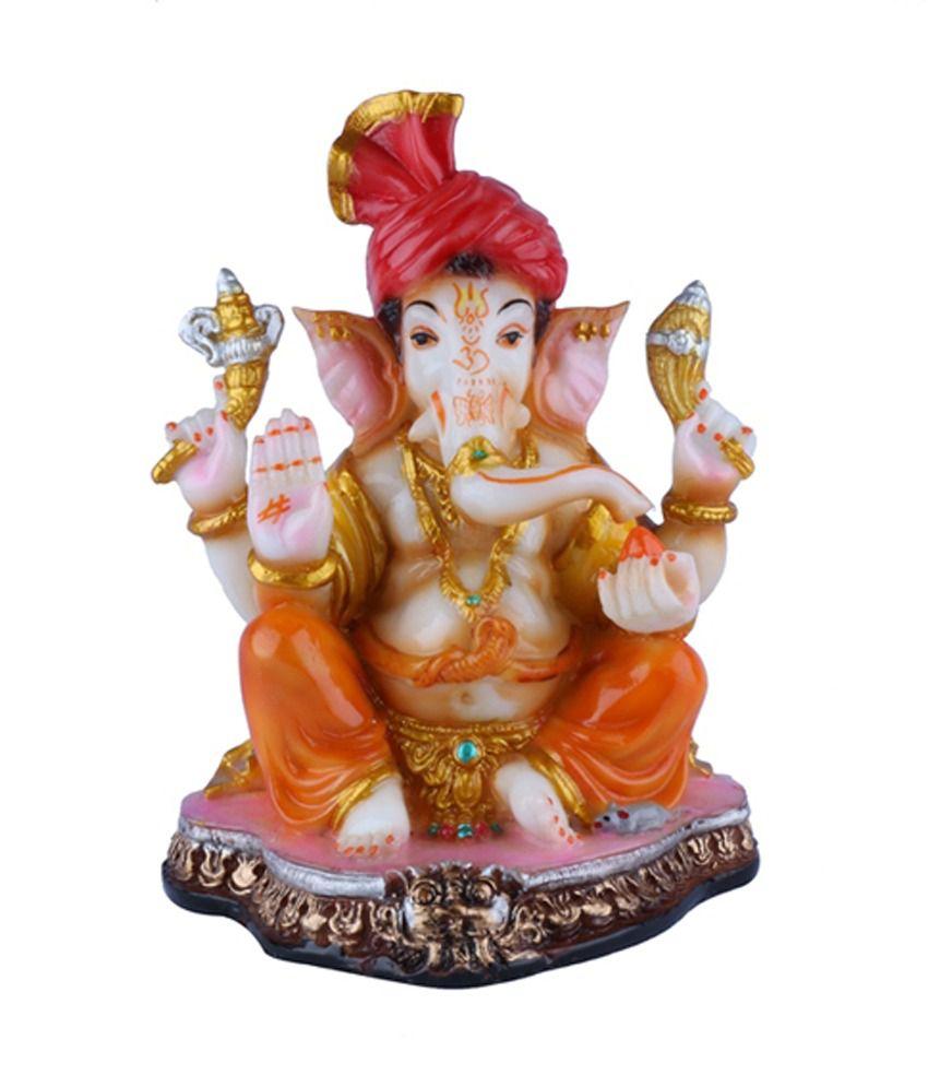 The Nodding Head Lord Pagdi Ganesh Statue - Large, Yellow