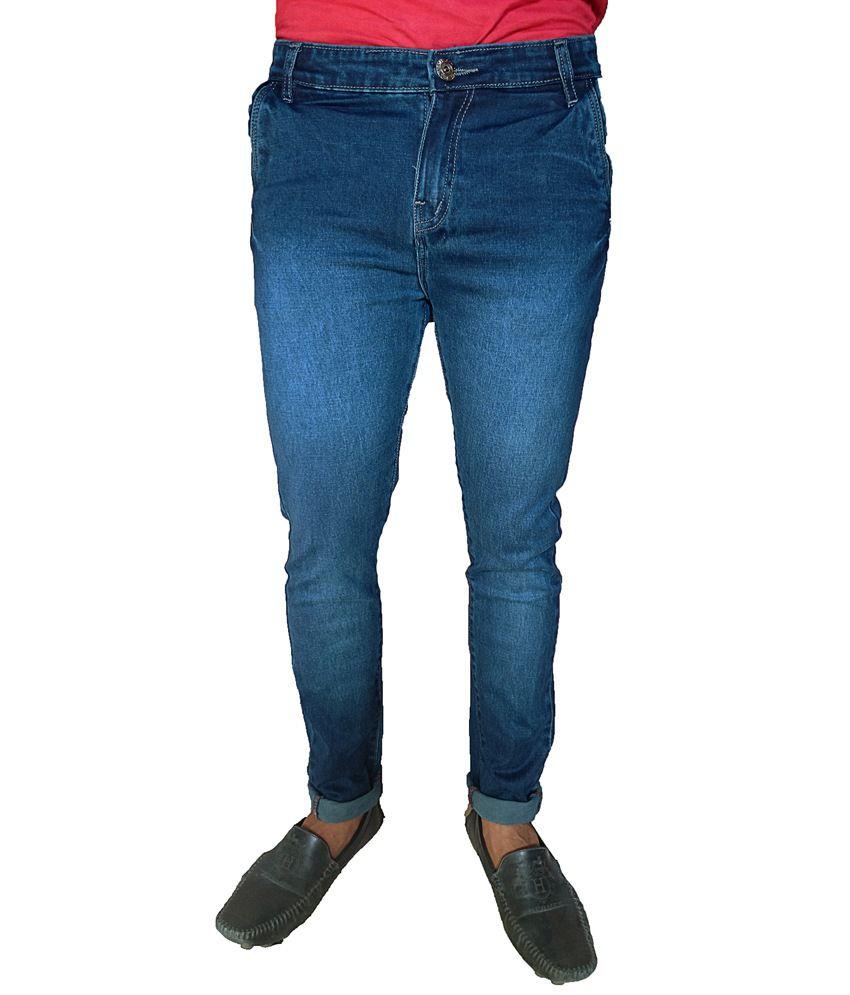 Oiin Blue Cotton Blend Slim Faded Cross Pocket Men's Jeans