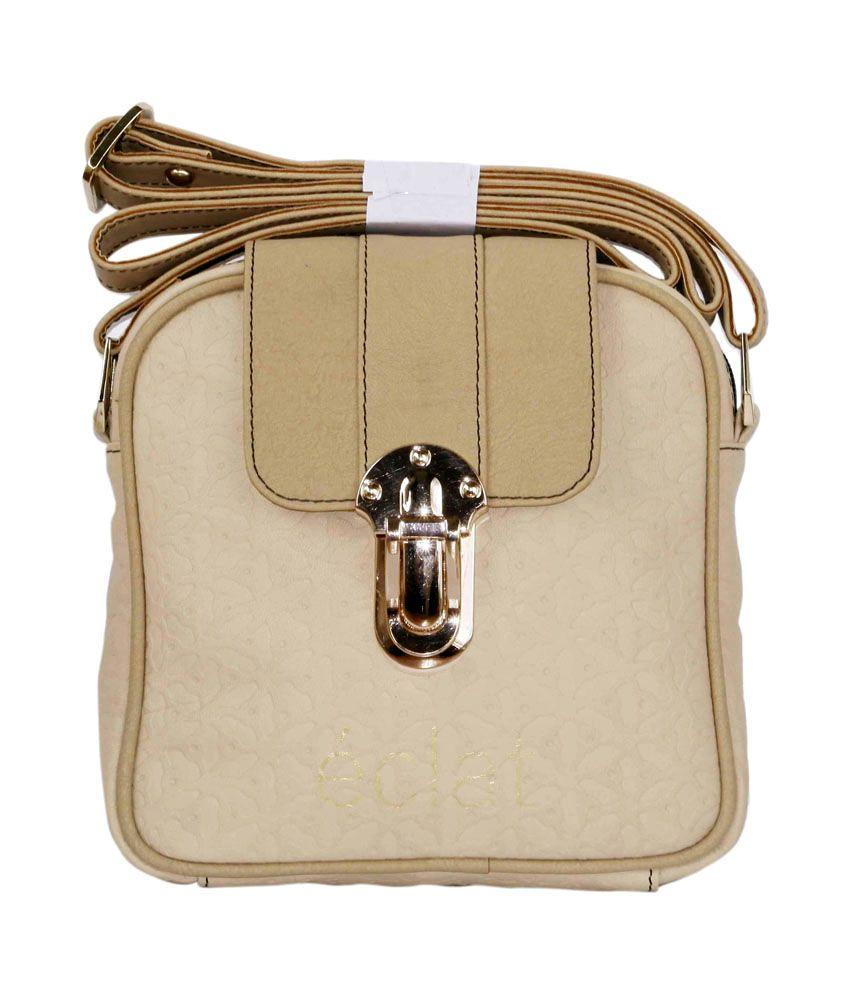 Eclat Beige Leather Sling Bag