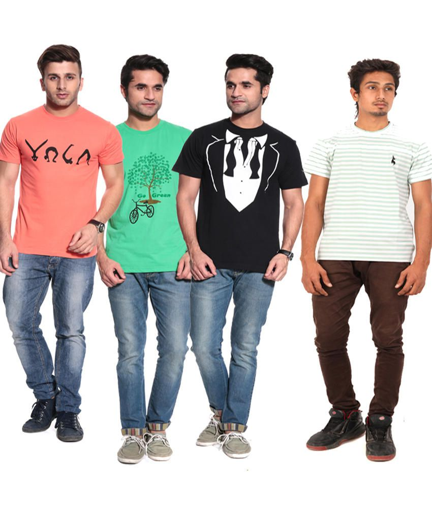 Posh 7 Black, Orange & Green,white Stripe Combo Of 4 T Shirt
