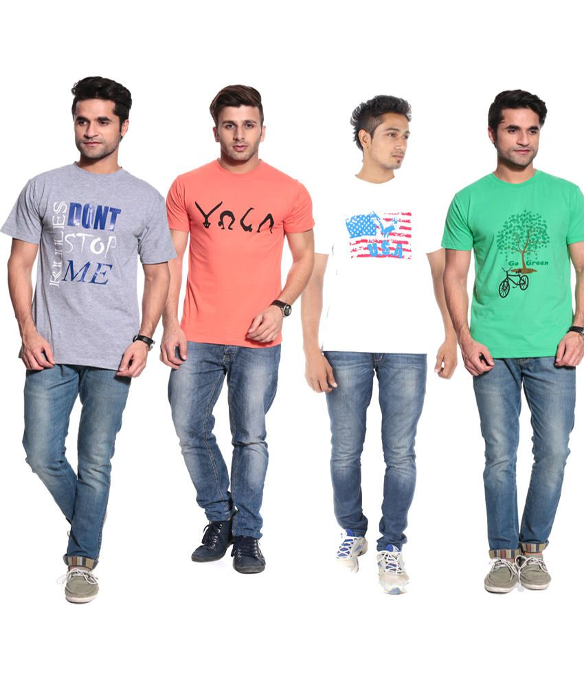 Posh 7 White,black, Orange & Gray Combo Of 4 T Shirt