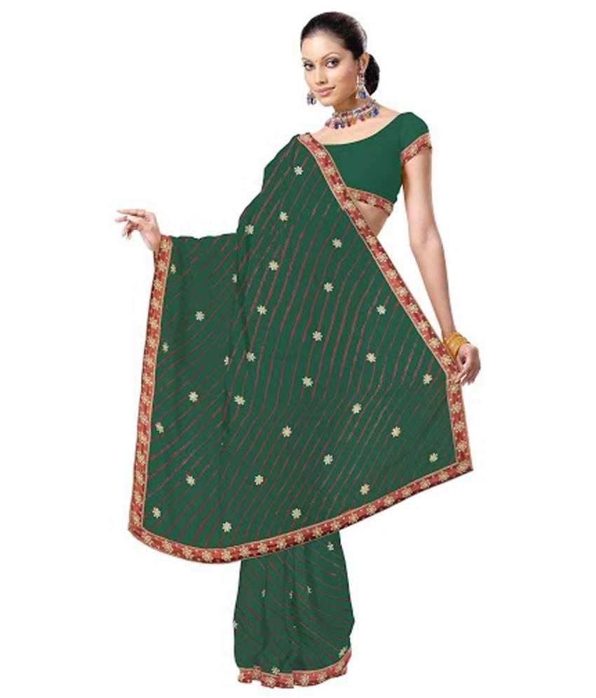 Style And Fashion Green Pure Chiffon Leheria Saree With Blouse Piece