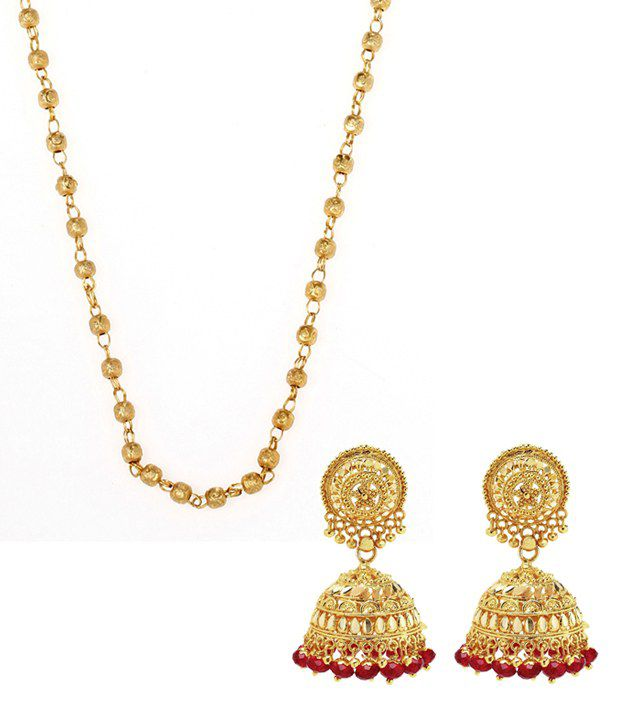 Matar Mala Chain and Gold Plated Red Beaded Jhumki Combo ...