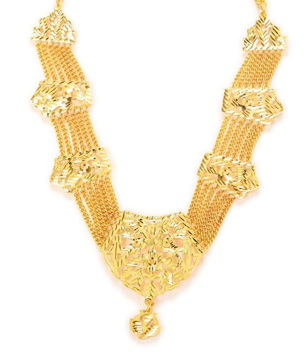 South Indian Style Gold Plated Necklace and Kada Combo by GoldNera
