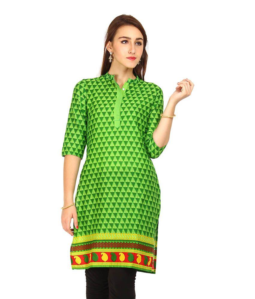 Vishudh Green Border Work Cotton Kurti
