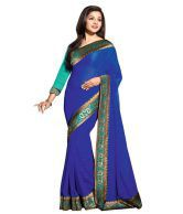 Vishal Blue Semi Chiffon Border Work Saree With Blouse Piece