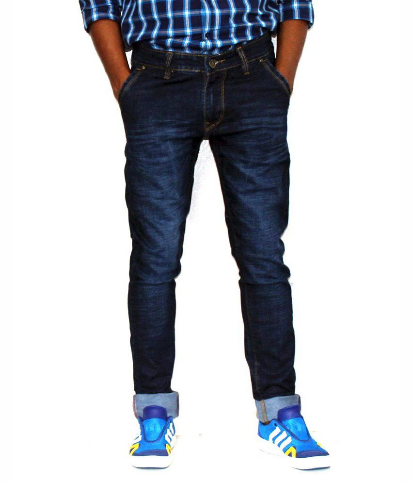Gbos Blue Cotton Faded Slim Fit Jeans