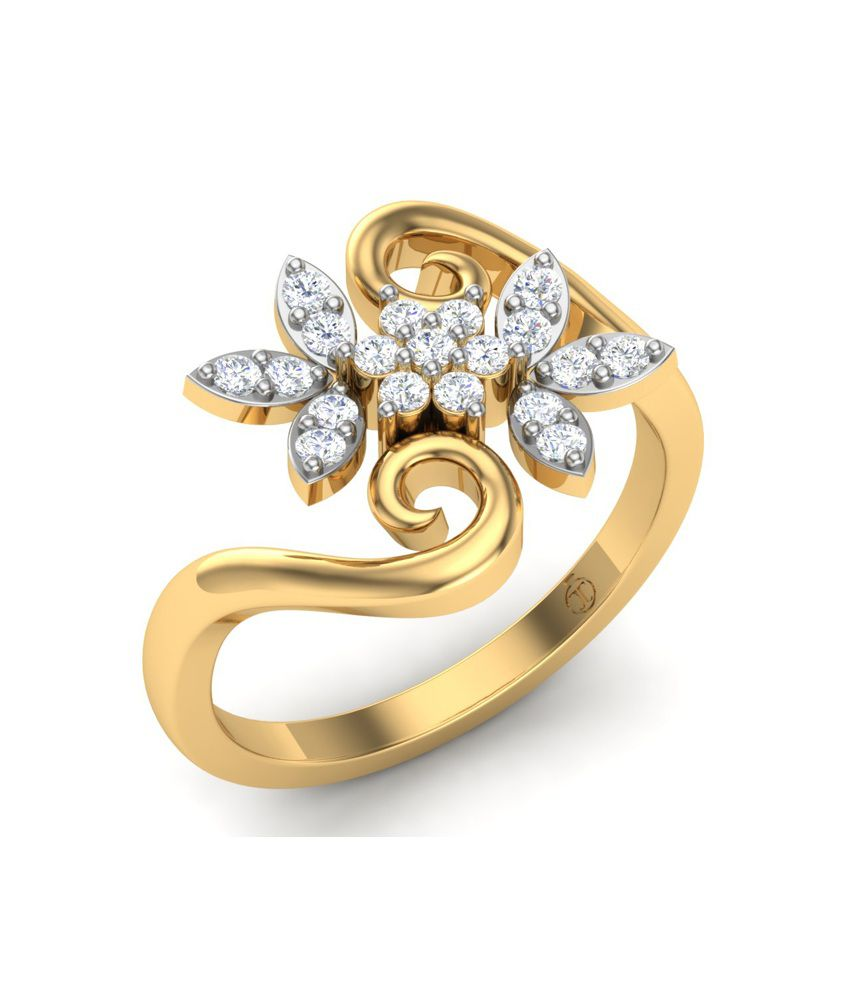 Theme Jewels Floral LR-0061, Certified Real Diamond & 18Kt Hallmarked Yellow Gold Ring