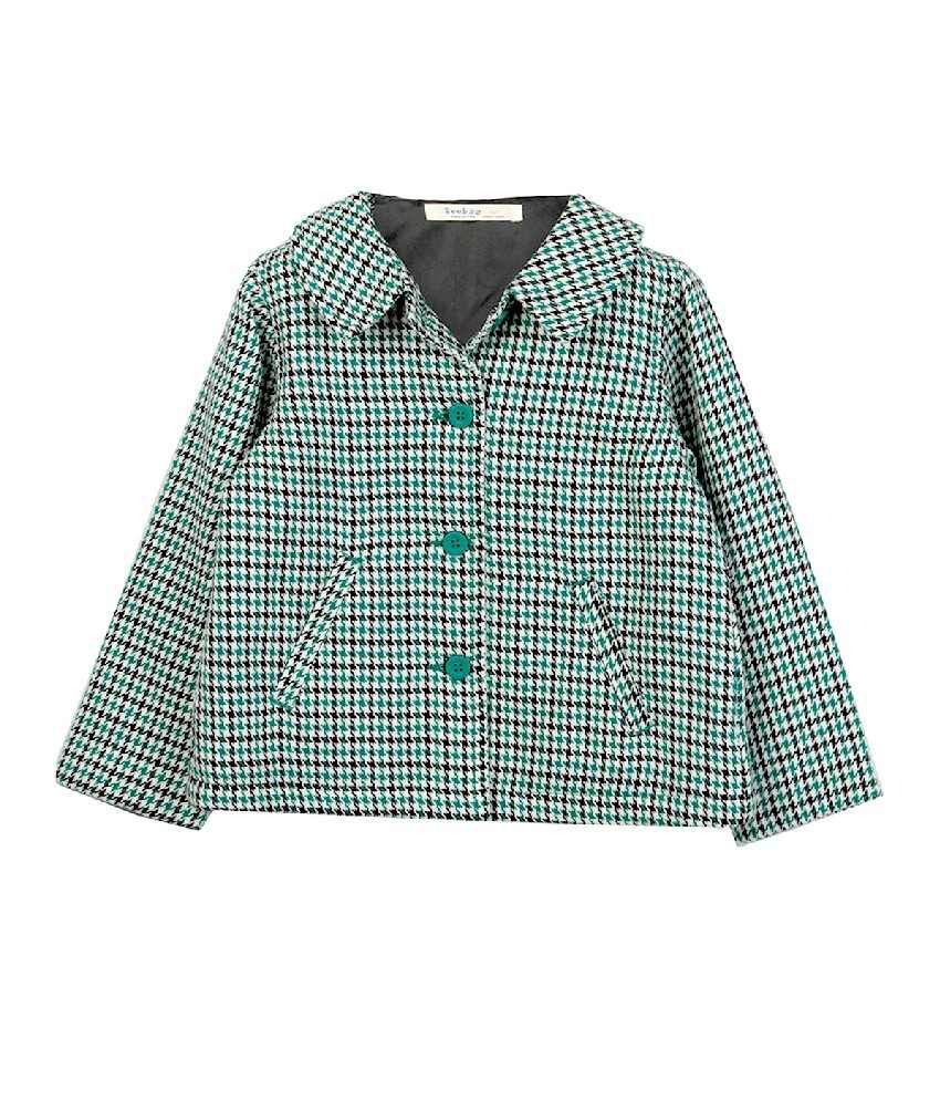 Beebay Green Color Checks Houndstooth Blazer For Kids