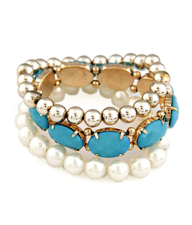 Jewel Touch Huge Blue Gemstone Pearl Decorated Elastic Design Alloy Fashion Bangles