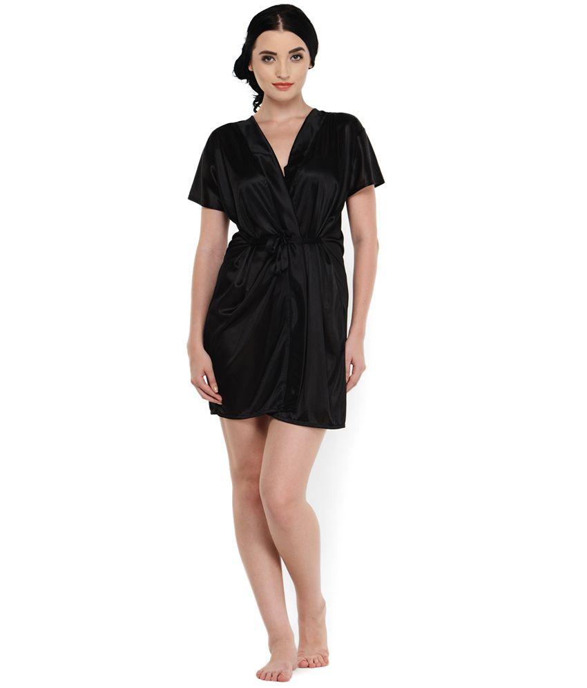 Klamotten Black Satin Robe