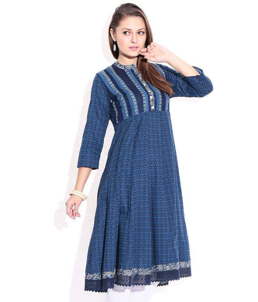 c4b288331 Rangriti Indigo Printed Cotton Kurti - Buy Rangriti Indigo Printed ...