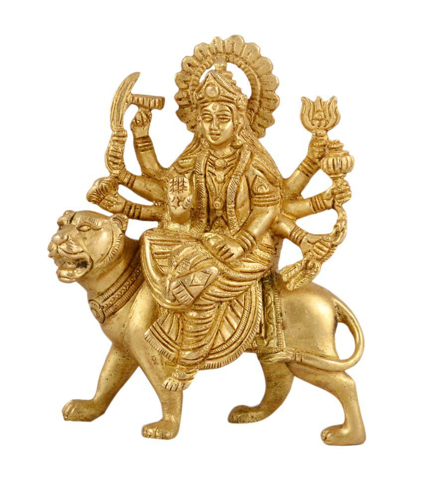 1st home gold brass durga maa on lion statue buy 1st home gold