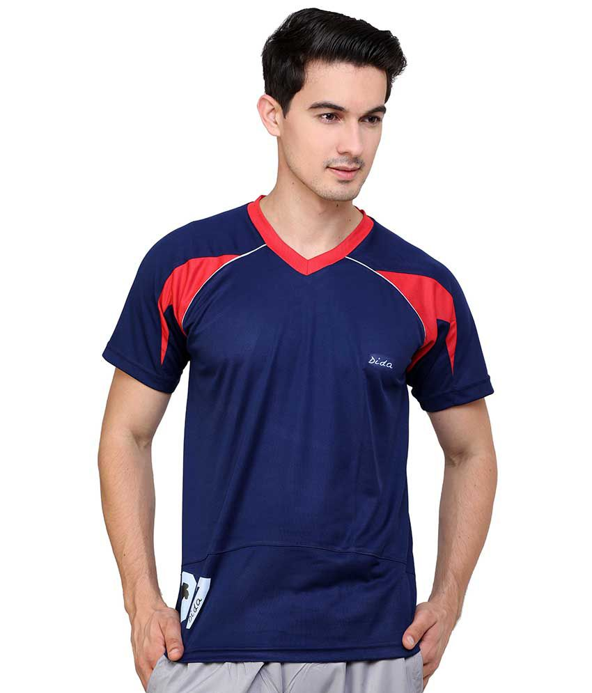 Dida  Navy Polyester V-Neck T-Shirt