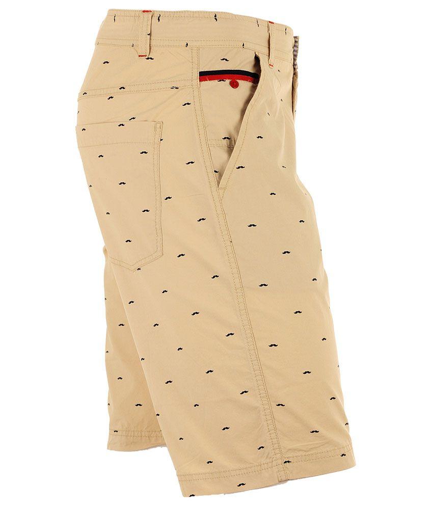 Faraday - Biege Printed Cargo Shorts For Men - Buy Faraday - Biege ...