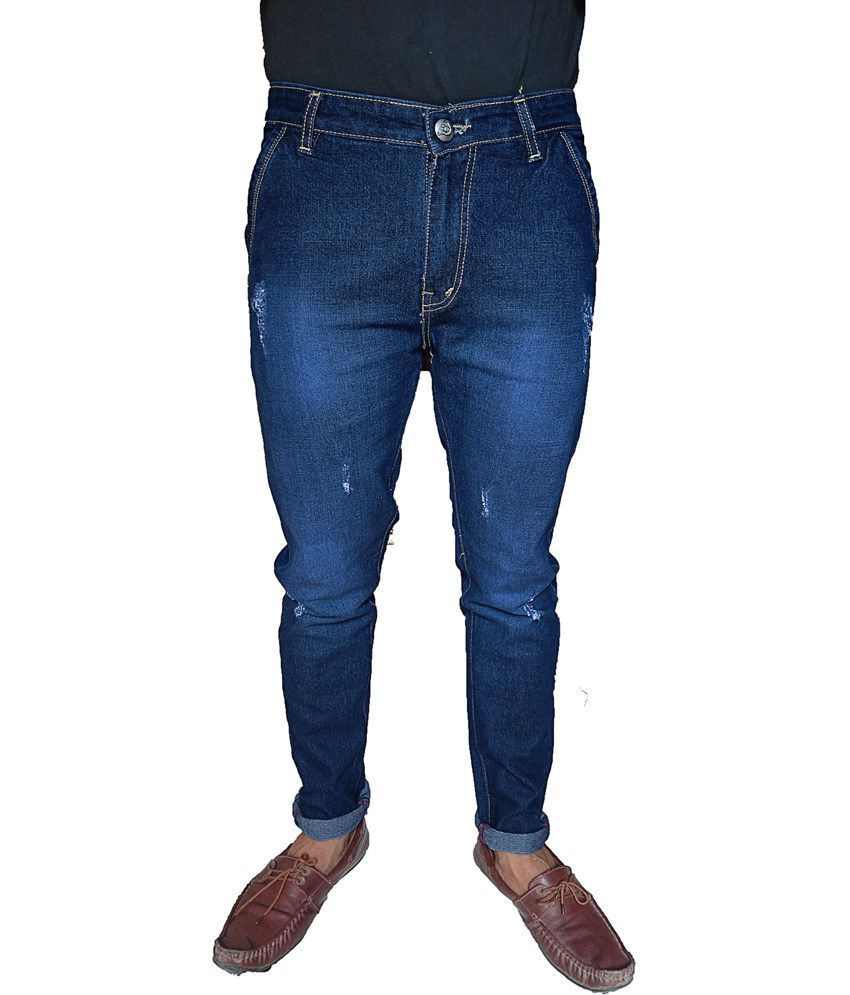 Oiin Blue Cotton Slim Fit Cross Pocket Jeans