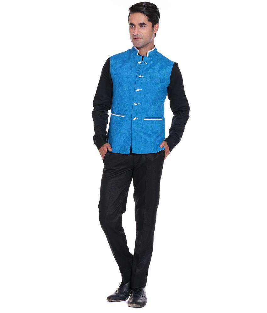 Blue Semi-formal Nehru Jackets