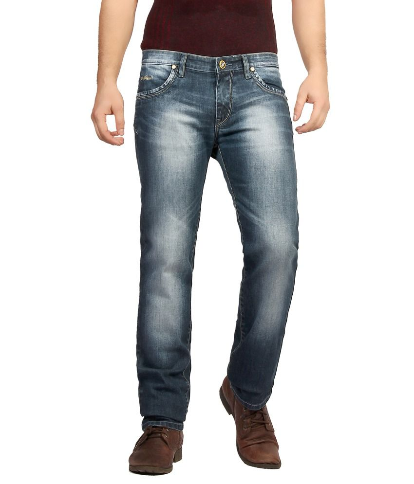 Fn Jeans Stylish Navy Blue Slim Fit Low Rise Stone Wash Denim For Men | Fnj9153