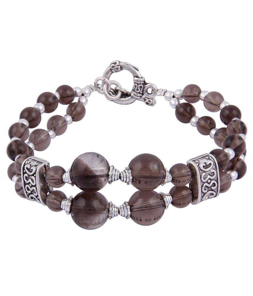 Pearlz Ocean Nelia 7.5 Inch Smoky Quartz Gemstone Beads Bracelet