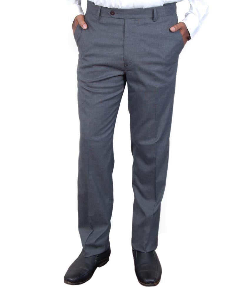 Super Trouser Grey Poly Viscose Slimfit Trouser