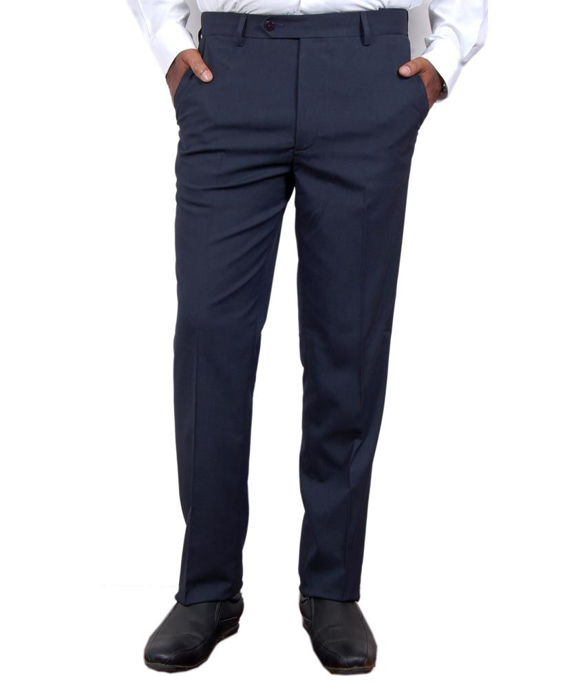 Super Trouser Navy Poly Viscose Slimfit Trouser