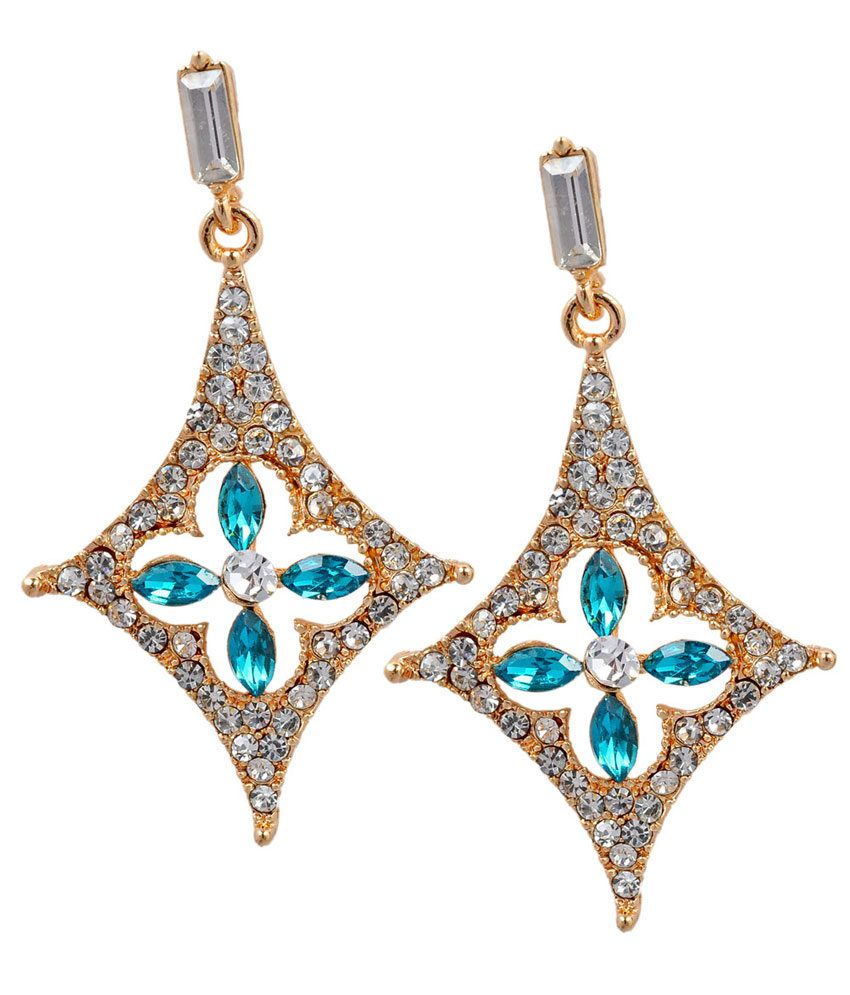 Maayra Colour Spark Charming Blue Drops Earrings