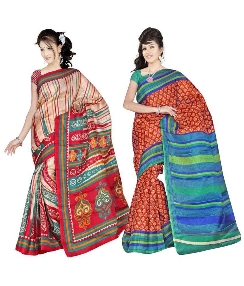 Paras Bhagalpuri Silk Multi-colour Saree- Set Of 2