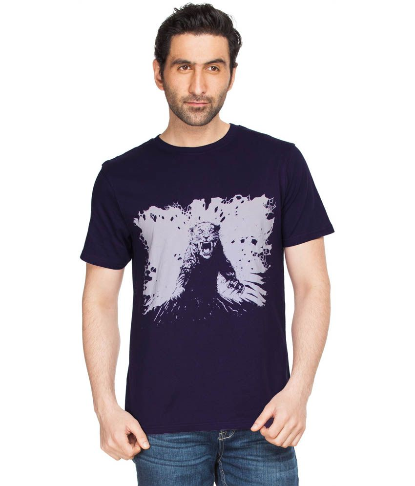 Zovi Tiger Attack Purple Graphic Round Neck T-shirt